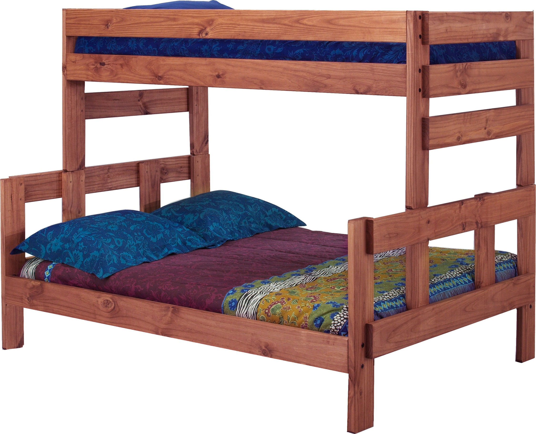 Twin Over Full Bunk Bed Mahogany Stain Hedgeapple