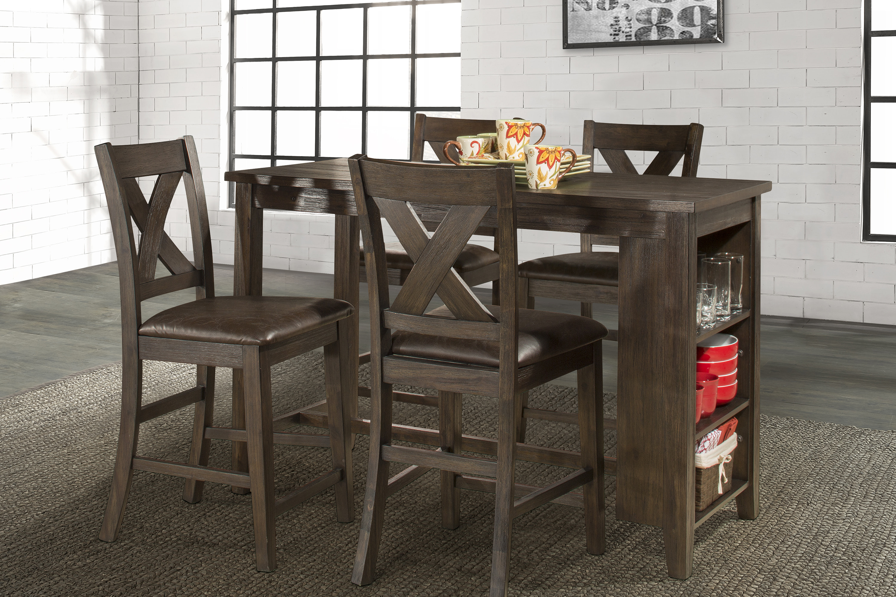 Spencer 5 Piece Counter Height Dining Set With X Back